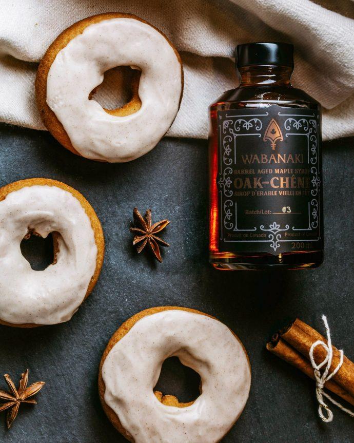 Wabanaki Maple Toasted Oak maple syrup with Maple Glazed Donuts